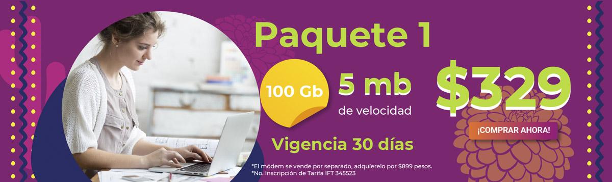 mujer con laptop promocionando paquete 1